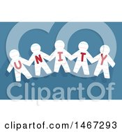 Poster, Art Print Of Row Of Cut Out Paper People With The Word Unity Over Blue