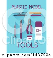 Clipart Of Plastic Model Tools With Text On Blue Royalty Free Vector Illustration