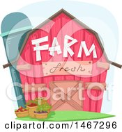 Clipart Of A Pink Barn With Farm Fresh Text And Bushels Of Produce Royalty Free Vector Illustration by BNP Design Studio
