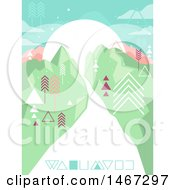 Clipart Of A Geometric Landscape With A Road And Mountains Royalty Free Vector Illustration by BNP Design Studio