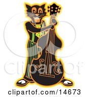 Black Cat Playing A Bass Fiddle In A Band Clipart Illustration