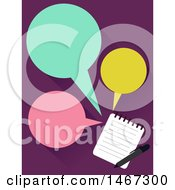Clipart Of A Notepad And Speech Balloons Royalty Free Vector Illustration