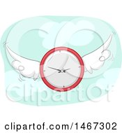 Clipart Of A Flying Clock Royalty Free Vector Illustration