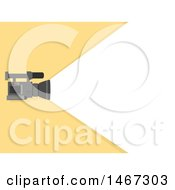 Clipart Of A Video Camera Emanating A Beam Of Light Over Yellow Royalty Free Vector Illustration