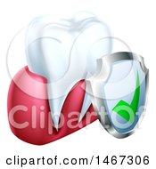 Clipart Of A 3d Tooth And Protective Dental Shield Royalty Free Vector Illustration