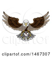 Clipart Of A Cartoon Swooping American Bald Eagle With A Baseball In His Talons Royalty Free Vector Illustration