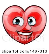 Clipart Of A Happy Red Love Heart Character Royalty Free Vector Illustration