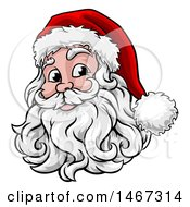 Clipart Of A Happy Santa Face With A Hat And Beard Royalty Free Vector Illustration by AtStockIllustration