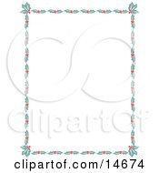 Stationery Border Of Holly Leaves And Berries Around A White Background Retro Clipart Illustration