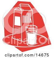 Still Life Of A Whole Glass Of Milk By A Milk Carton Clipart Illustration