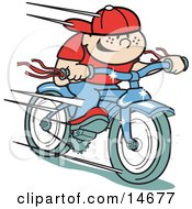 Happy Boy Riding A Brand New Blue Bike Retro Clipart Illustration