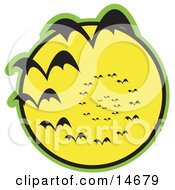 Continuous Vortex Spiral Of Vampire Bats Flying In Silhouette Against A Bright Full Yellow Moon And Slowly Disappearing In The Distance Clipart Illustration