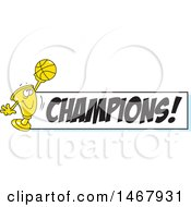 Golden Trophy Mascot Holding Up A Basketball By A Champions Banner