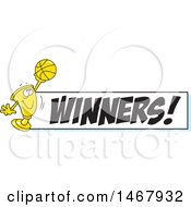 Golden Trophy Mascot Holding Up A Basketball By A Winners Banner