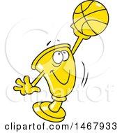 Golden Trophy Mascot Holding Up A Basketball