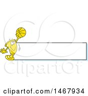 Golden Trophy Mascot Holding Up A Basketball By A Blank Banner