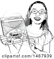 Clipart Of A Black And White Grinning School Girl Holding A Box Of Colored Pencils Royalty Free Vector Illustration by dero