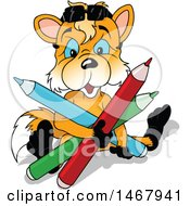 Clipart Of A Blue Eyed Fox Sitting With Giant Colored Pencils Royalty Free Vector Illustration by dero