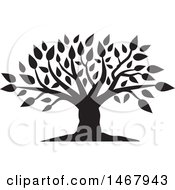 Clipart Of A Tree With Leaves Black And White Silhouette Royalty Free Vector Illustration by Johnny Sajem