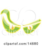 An Evil Pair Of Ghost Eyes Glowing In The Dark Clipart Illustration