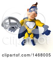 August 13th, 2017: Clipart Of A 3d Muscular White Male Super Hero In A Yellow And Blue Suit On A White Background Royalty Free Illustration by Julos