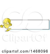 Clipart Of A Golden Trophy Cup Mascot Playing Football By A Blank Banner Royalty Free Vector Illustration