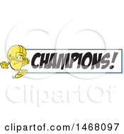 Golden Trophy Cup Mascot Playing Football By A Champions Banner