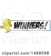Golden Trophy Cup Mascot Playing Football By A Winners Banner