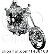 Clipart Of A Skeleton Biker Royalty Free Vector Illustration by dero