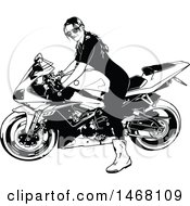 Clipart Of A Female Biker Royalty Free Vector Illustration by dero