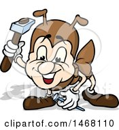 Clipart Of A Hammering Ant Royalty Free Vector Illustration