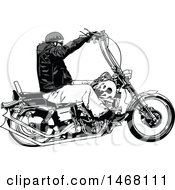 Clipart Of A Biker In Profile Royalty Free Vector Illustration by dero