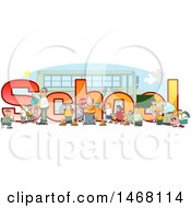 Clipart Of A Crossing Guard Teachers And Students In Front Of School Text And A Bus Royalty Free Illustration