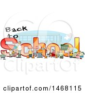 Clipart Of A Crossing Guard Teachers And Students In Front Of Back To School Text And A Bus Royalty Free Illustration by djart