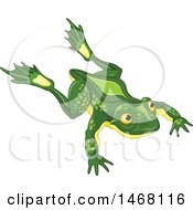 Clipart Of A Cute Leaping Frog Royalty Free Vector Illustration by Pushkin