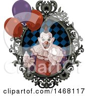 Clipart Of A Scary Evil Clown Pointing Outwards From A Frame With Party Balloons Royalty Free Vector Illustration