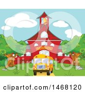 Clipart Of A Bus In Front Of A Red School Building Royalty Free Vector Illustration by Pushkin