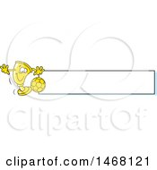 Clipart Of A Golden Trophy Cup Mascot Playing Soccer By A Blank Banner Royalty Free Vector Illustration