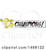 Clipart Of A Golden Trophy Cup Mascot Playing Soccer By A Champions Banner Royalty Free Vector Illustration