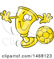 Clipart Of A Golden Trophy Cup Mascot Playing Soccer Royalty Free Vector Illustration