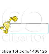Clipart Of A Golden Trophy Cup Mascot Playing Volleyball By A Blank Banner Royalty Free Vector Illustration by Johnny Sajem