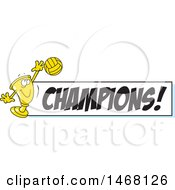 Clipart Of A Golden Trophy Cup Mascot Playing Volleyball By A Champions Banner Royalty Free Vector Illustration