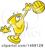 Clipart Of A Golden Trophy Cup Mascot Playing Volleyball Royalty Free Vector Illustration