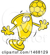 Clipart Of A Golden Trophy Cup Mascot Playing Soccer Royalty Free Vector Illustration by Johnny Sajem
