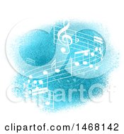 Clipart Of A Wave Of Music Notes On Blue Royalty Free Vector Illustration