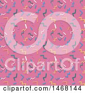 Clipart Of A Background Of Retro Styled Confetti On Pink Royalty Free Vector Illustration