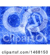 Poster, Art Print Of 3d Man Running Over A Network Dna Strand And Virus Cells Background