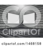 Clipart Of A Light Shining Down In A 3d Room Interior With Blank Picture Frames Royalty Free Illustration