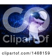 Clipart Of A 3d White Man Wearing A Virtual Reality Headset On A Techno Background Royalty Free Illustration