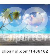White Wood Surface Over A Blurred Tropical Beach Scene